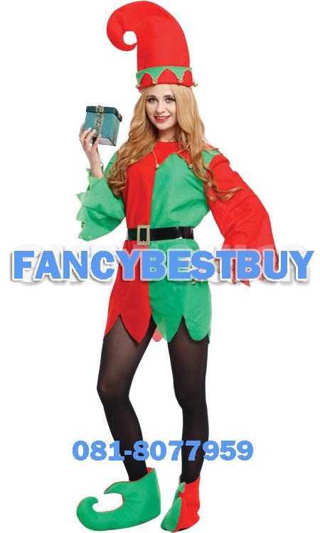 ชุดคริสมาสแฟนซีผู้หญิง Santa's Elf Costume ขนาดฟรีไซด์
