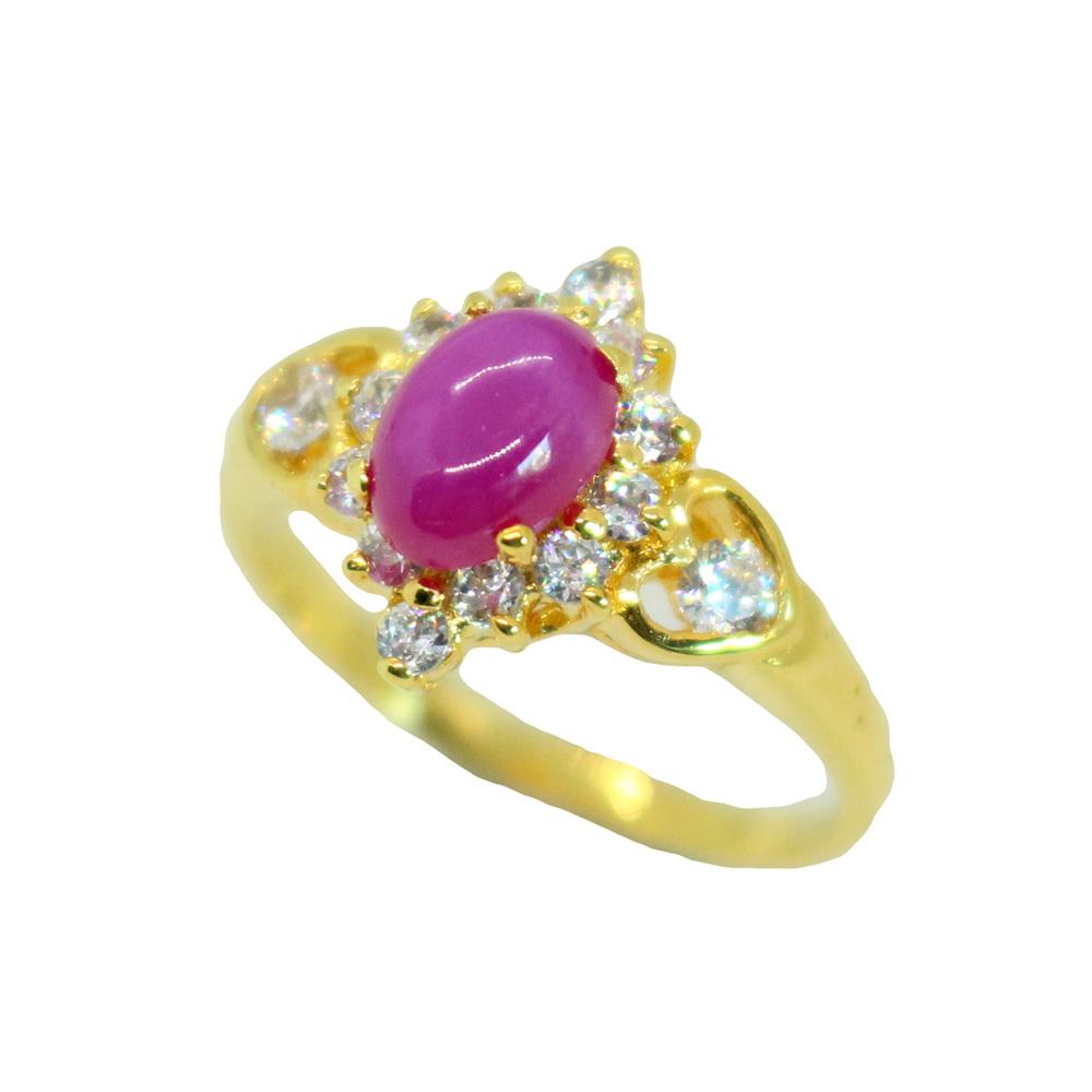 แหวนพลอยทับทิมแท้ หุ้มทองคำแท้ ไซส์ 53