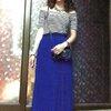 ชุดแม็กซี่เดรส ตัวเสื้อผ้ายืดลายขาวสลับดำ ตัดต่อกระโปรงทรงพีทสีน้ำเงิน เอวปรับยืดได้