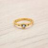 แหวนเพชรCZ สีฟ้า หุ้มทองคำแท้ ไซส์ 52
