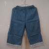 กางเกงขายาวเนื้อผ้ายีนส์เทียม ขาห้าส่วนแต่งชายลูกไม้