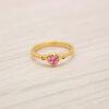 แหวนเพชรCZสีชมพู สีทองคำแท้ ไซส์ 52