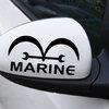 สติ๊กเกอร์ติดกระจกมองข้างรถ Marine สีดำ (1แพ็ค/2ข้าง) 14x8 CM