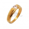 แหวนเพชรCZ เพชรสวิส เพชรเดียวพ่นทรายทองใหญ่ สีทอง