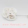 เข็มกลัด พุ่มดอกกุหลาบผ้าสีขาว