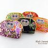 ของที่ระลึกไทย กระเป๋าผ้าลายไทย ขอบทอง (ขนาด: ขอบทอง S) ลายดอกไม้ หนึ่งโหลคละสี จำหน่ายยกโหล สินค้าพร้อมส่ง