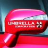 สติ๊กเกอร์ติดกระจกมองข้างรถ Umbrella Corporation (1แพ็ค 2 ชิ้น) ขนาดข้างละ 3x15 Cm สีขาว