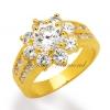 แหวนเพชรCZ เพชรสวิส ล้อมพิกุลบ่าคู่ สีทอง