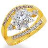 แหวนเพชรCZ เพชรสวิส แหวนหนีบพิกุล สีทอง