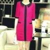 ชุดแซกแขนสามส่วนสีชมพู ตัดแต่งผ้าคาดสีดำแบบเก๋