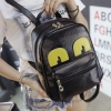 กระเป๋าเป้แฟชั่นเกาหลี หนังสีดำ แต่งลูกตาสีเหลือง