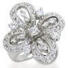 แหวนเพชรCZ เพชรสวิส แหวน Lilly สีทองคำขาว