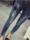 กางเกงคนท้องยีนส์ยืดขายาว รอยปะที่หน้าขา ด้านในเป็นขน (สำหรับไปต่างประเทศที่อากาศหนาวค่ะ)