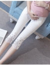 กางเกงพยุงหน้าท้อง สีขาว ขา5ส่วน ปลายขาผ่าแต่งด้วยผ้ามุ้ง เอวมีสายปรับระดับได้ ใส่สบายมากๆค่ะ