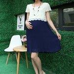 #โปรลดราคา 50% #Dressกระโปรง ฝ้า2ชิ้นติดกัน ด้านบนเป็นผ้าลูกไม้สีขาว แขนสั้น ด้านล่างเป็นผ้าชีฟองอีดพีชสีน้ำเงิน รูปทรงน่ารักมากๆคะ (สำหรับคุณแม่สูงไม่เกิน155เซนติเมตรจะใส่เป็นDressนะคะ)