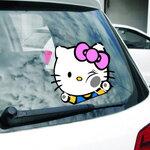 สติ๊กเกอร์ติดรถยนต์ Hello Kitty โบว์ชมพู (17x14 CM)