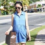 #เสื้อคลุมท้อง คอปกแขนกุด ผ้าฝ้ายสีฟ้า ใส่สบายๆค่ะ
