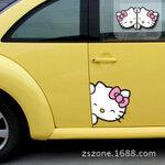 สติ๊กเกอร์ติดรถน่ารัก ลาย Hello Kitty (แพ็คคู่) ขนาดข้างละ 19x20 CM