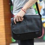 กระเป๋าแฟชั่นผู้ชาย สีดำ หนัง PU ใบกลาง Classic Design