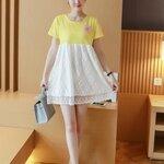 #เสื้อคลุมท้องแฟชั่น ด้านบนเป็นผ้ายืดสีเหลือง แขนสั้น ด้านล่างเป็นผ้าลูกไม้สีขาว ผ้าเนื้อนิ่มใส่สบายจร้า