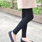 กางเกงเลกกิ้ง ขายาวสีดำ มีโบว์3ชิ้นที่ปลายขา