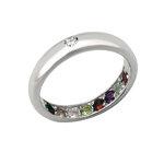 แหวนพูนทรัพย์พลอยนพเก้าหุ้มทองคำขาว