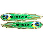 สติ๊กเกอร์นกสีเขียว ประทับตรา TOYOTA ขนาด 8x39 CM (แพ็คคู่)