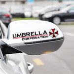 สติ๊กเกอร์ติดกระจกมองข้างรถ Umbrella Corporation (1แพ็ค 2 ชิ้น) ขนาดข้างละ 3x15 Cm สีดำ