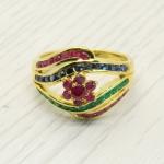 แหวนพลอยแท้ หุ้มทองคำแท้ ไซส์ 57
