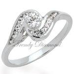 แหวนเพชร แหวนก้นหอย สีทองคำขาว