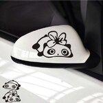 สติ๊กเกอร์ติดกระจกมองข้างรถ แพนด้าน่ารักตัวผู้และตัวเมีย (1Pack/2ชิ้น) สีดำ