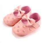 รองเท้าเด็กอ่อน 0-12เดือน รองเท้าเด็กชาย เด็กหญิง สีชมพูปั้มลายหัวใจและโบว์