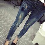 กางเกงคนท้องยีนส์ยืดขายาว รอยปะที่หน้าขา ปรับเอวได้ size XL, XXL