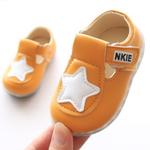 รองเท้าเด็กอ่อน 0-12เดือน สีเหลือง ปักรูปดาวสีขาว