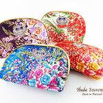 ของที่ระลึกไทย กระเป๋าผ้าลายไทย ขอบทอง (ขนาด: ขอบทอง L) ลายดอกไม้ หนึ่งโหลคละสี จำหน่ายยกโหล สินค้าพร้อมส่ง