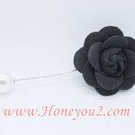 เข็มกลัด ดอก Camelia สีดำ