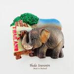 ของที่ระลึกไทย แม่เหล็กติดตู้เย็น ลวดลายช้างวาดภาพ วัสดุเรซิ่น ชิ้นงานปั้มลายเนื้อนูน ลงสีสวยงาม