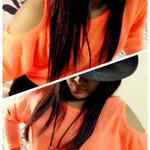 #N022# เสื้อโชว์ไหล่ สีส้ม (ราคา 330 บาท)