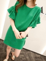 เสื้อคลุมท้องแฟชั่น ผ้าฝ้ายสีเขียว แขนสั้น ผ้าเนื้อนิ่มสวมใส่สบายมากคะ