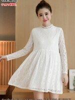 #เสื้อคลุมท้องแฟชั่น ผ้าลูกไม้สีขาว คอกลมผ่าหลัง แขนยาวระบาย ผ้าเนื้อนิ่มมากค่ะ มีซับใน ใส่สบายน่ารักฝุดๆเลยจร้า