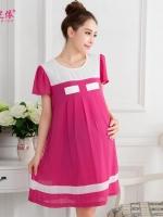 Dressกระโปรงผ้าชีฟอง แขนสั้นสีชมพู ผ้าเนื้อนิ่มใส่สบาย พร้อมเชือกผูกหลัง