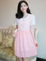ชุดกระโปรงคลุมท้องผ้าซีฟอง สีชมพู หวานมากๆค่ะ เหมาะกับคุณแม่ที่ชอบใส่ผ้าสบายๆค่ะ