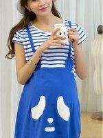 #Dressกระโปรงผ้ายืดเนื้อนิ่ม ด้านบนเป็นผ้ายืดสีขาว แขนสั้น ด้านล่างเป็นผ้ายืดสีน้ำเงิน ลายน้องหมี น่ารักน่าใส่มากคะ