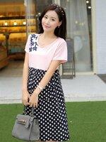 สีชมพูลายจุด เป๋าจกด้านหน้า ชุดคลุมท้องสไตย์เกาหลี น่ารักมากๆเหมาะกับอากาศร้านบ้านเราค่ะ