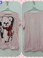 #เสื้อคลุมท้อง ผ้ายืดสีชมพู คอกลมแขนสั้น ปักลายรูปหมีลายจุด ผ้าเนื้อนิ่มใส่สบาย ไม่อึดอัดจร้า