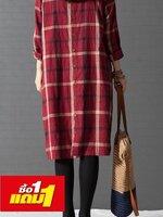 #Dressกระโปรงผ้าฝ้าย แขนยาว ลายสก็อตสีแดง มีกระเป๋ษที่หน้าอก1ใบ ด้านหลังเป็นกระดุมปลอม รูปทรงน่ารักใส่สบายมากๆคะ