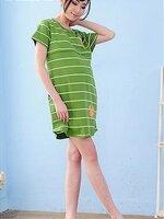 #Dressกระโปรงเปิดให้นมผ้ายืดเนื้อนิ่มลายขวางสีเขียว แขนสั้น มีซิปเปิดให้นมแนวขวาง พร้อมกระเป๋าล้วง2ข้าง เนื้อผ้านิ่มใส่สบายคะ สามารถใส่หลังคลอดได้เลยจร้า