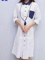 #ชุดเดรส ผ้าฝ้ายแขนยาว สีขาว คอปกสีน้ำเงิน กระดุมหน้า ผ้านิ่มใส่ชิวๆสบายๆ ไม่ร้อน