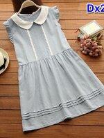 #Dressกระโปรง ผ้าฝ้ายสีฟ้า แขนกุด คอบัว ช่วงแขนต่อระบายเล็กๆ รูปทรงน่ารักมากๆคะ