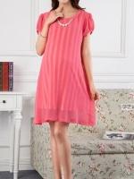 Dressกระโปรง ผ้าชีฟอง แขนสั้น สีชมพู คอปกประดับไข่มุข พร้อมเชือกผูกหลัง รูปทรงน่ารักมากๆคะ